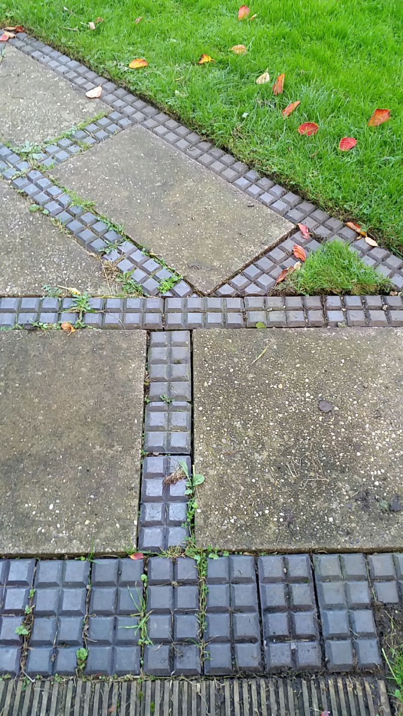Paving slabs & blue bricks